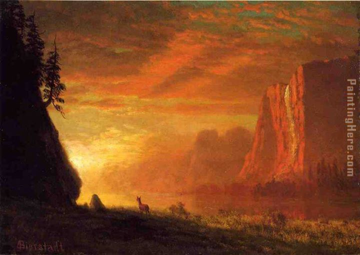 Deer at Sunset - Albert Bierstadt (1830-1902)